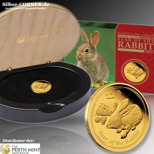 Lunar II Hase 1/10 Oz Gold Proof + Box + COA
