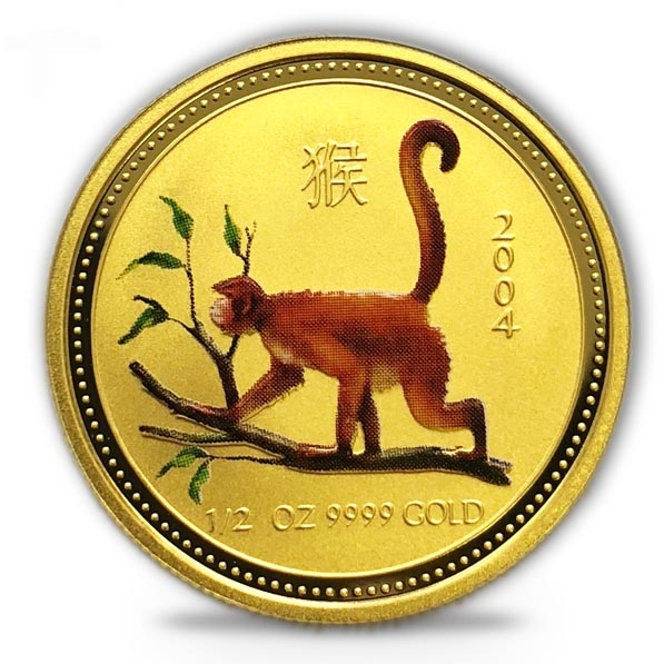 Lunar I - Affe - 1/2 Oz Gold farbig 2004