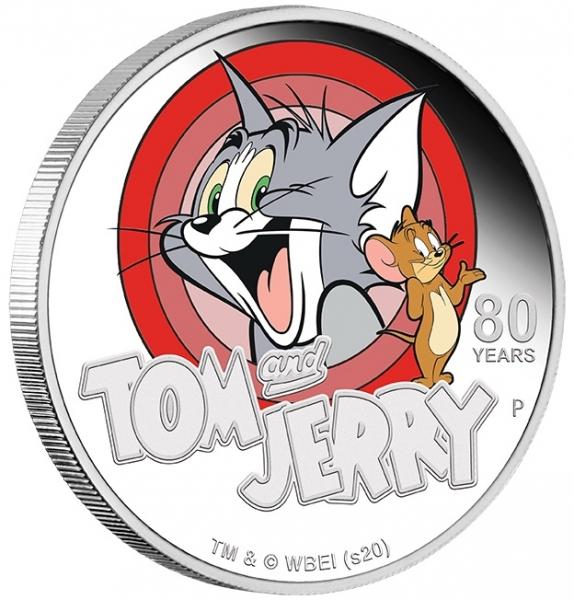 Tom & Jerry 1 Oz Silber 80 Jahre Proof +Box +COA*