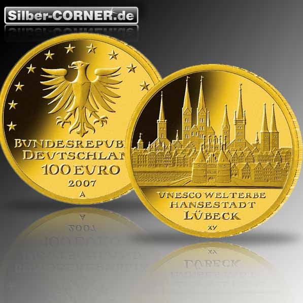 100 Euro Gold 2007 Lübeck 1/2 Oz Gold