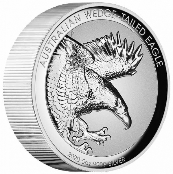 Wedge Tailed Eagle 5 Unzen Silber High Relief Proof 2020 +Box +COA *