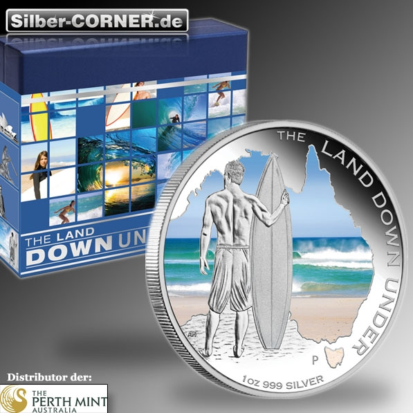 The Land Down Under - Surfing - 1 Oz Silber Proof + Box + CoA*