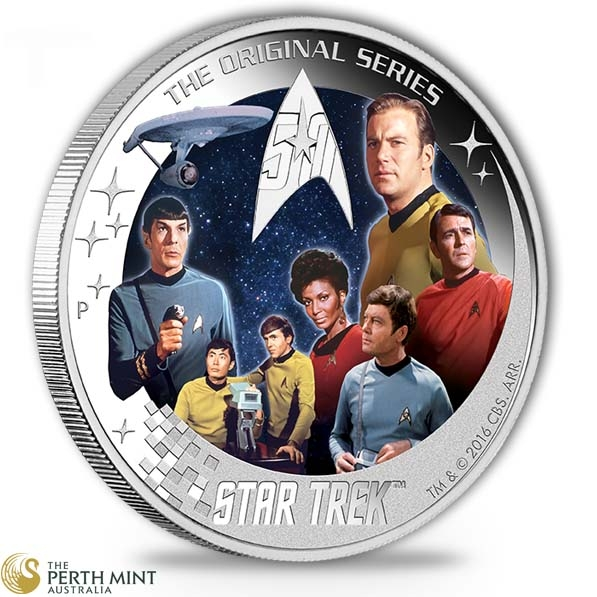 Star Trek NCC-1701 Crew 2 Oz Silber Proof +Communi.*