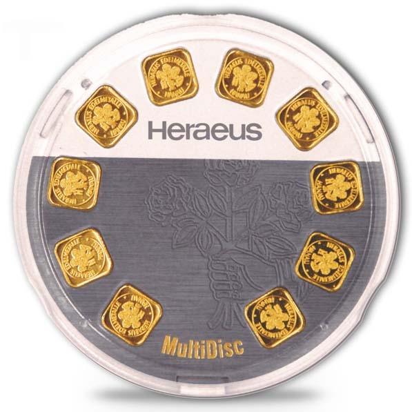 Heraeus MultiDisc 10 x 1 Gramm Gold