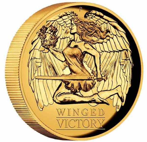 Winged Victory 1 Oz Gold High Relief 2021 +Box +COA