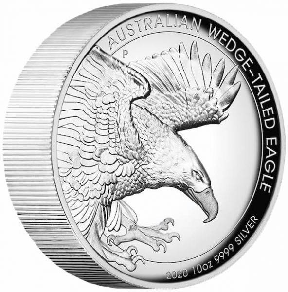 Australian Wedge Tailed Eagle 10 Oz Silber High Relief 2020 +Box +COA*