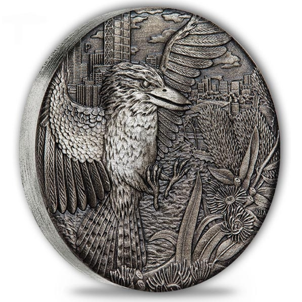 Kookaburra 2 Oz Silber High Relief - Antik Finish- 2018*
