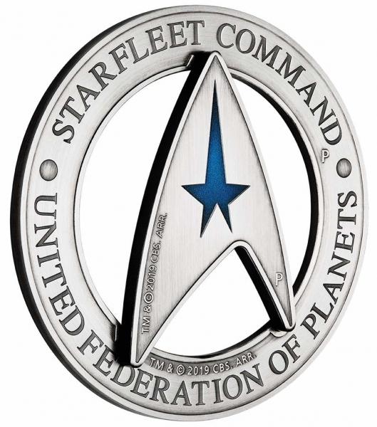 Starfleet Command Emblem 3 Oz Silber Antik Delta Coin Set 2019*