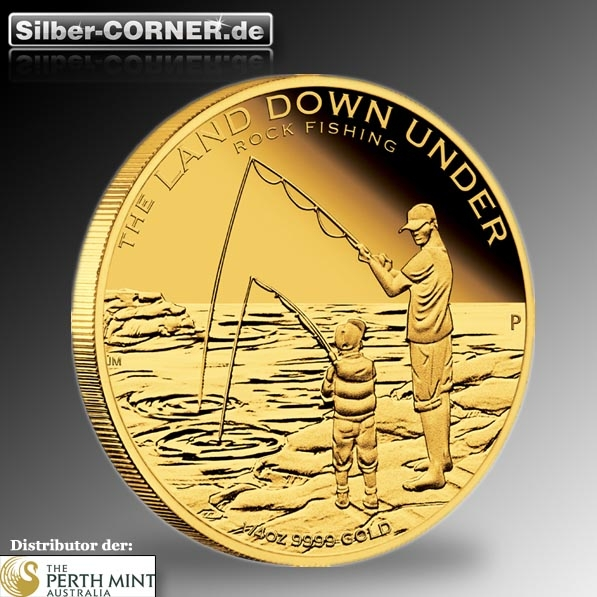 The Land Down Under Rock Fishing 1/4 Oz Gold Proof Coin