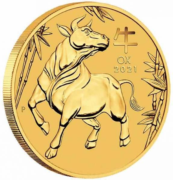 Lunar Ochse 1/10 Unze Goldmünze 2021