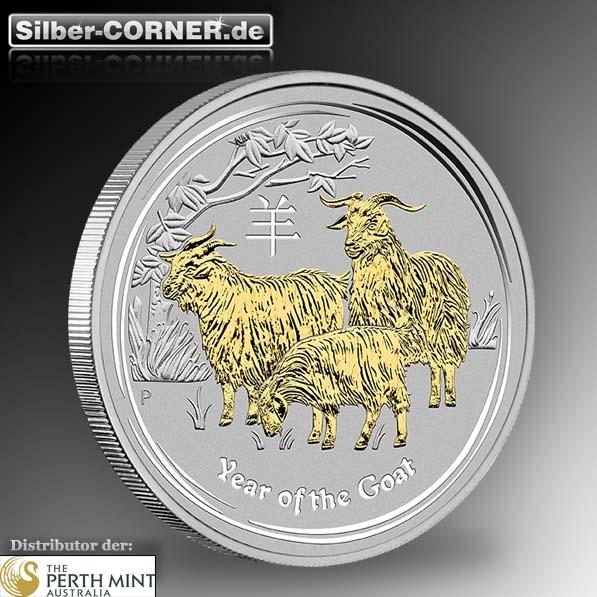 Lunar II Ziege 1 Oz Silber vergoldet + Zertifikat *