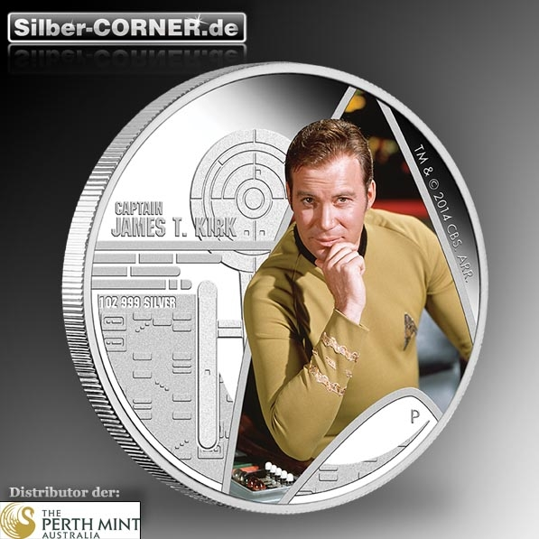 Star Trek - Captain Kirk - 1 Oz Silber Proof + Box*