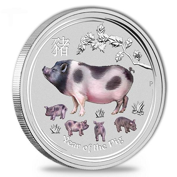 Lunar II farbig Schwein 5 Oz Silber 2019*