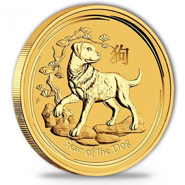Lunar II - Hund - 1/20 Oz Gold 2018