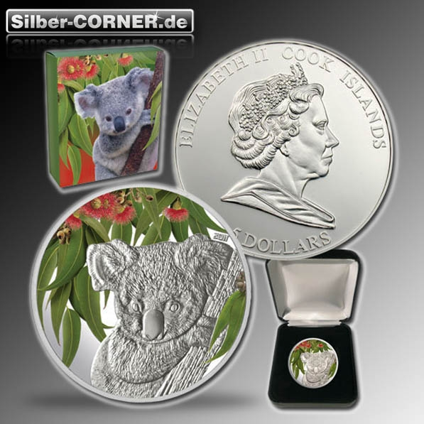 B-Ware. Münze angelaufen Eucalyptus Koala 2015 1 Oz Silber *