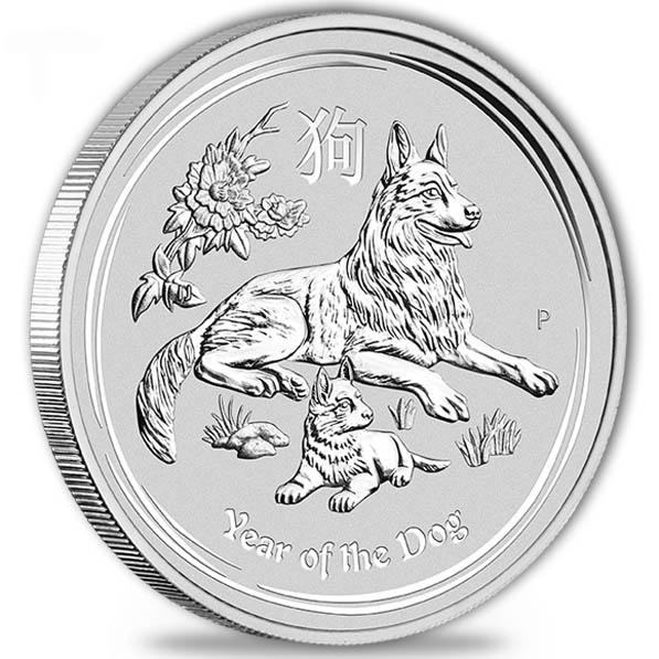 Lunar II - Hund - 5 Oz Silber 2018 *