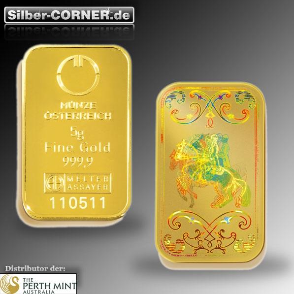 Lipizzaner 5 Gramm Goldbarren