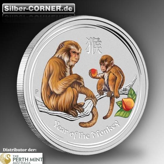 Lunar II - Jahr des Affen - 2 Oz Silber farbig *
