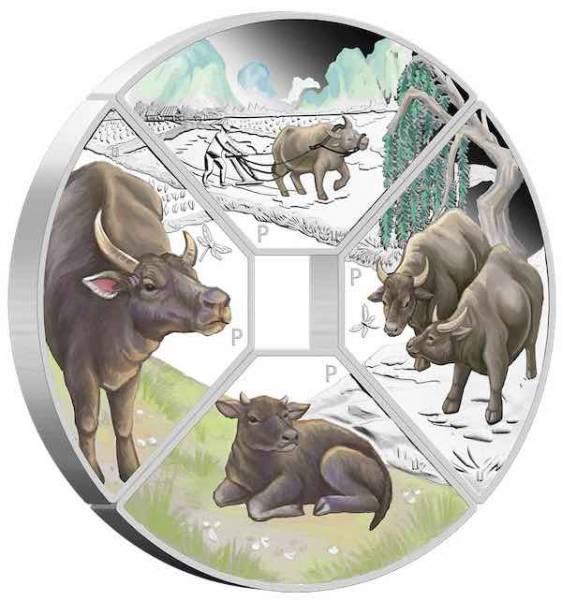 Jahr des Ochsen - Quadrant - 4 x 1 Unze Silber Proof +Box +COA*