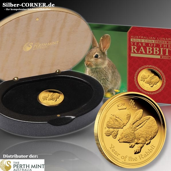 Lunar II Hase 1/4 Oz Gold Proof + Box + COA