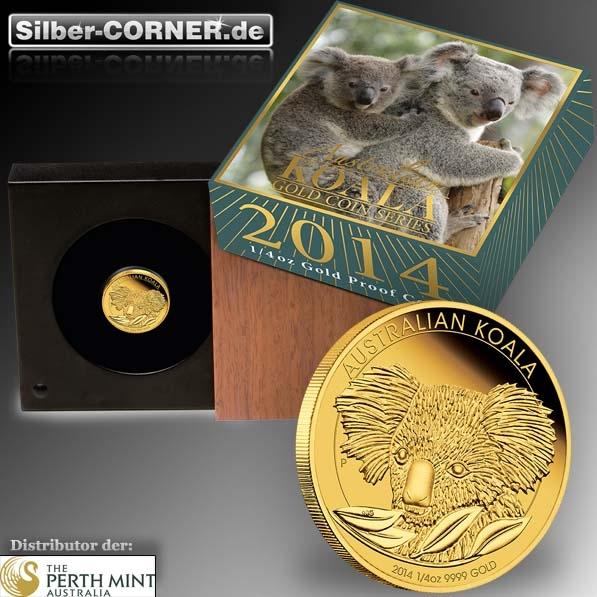Koala 2014 1/4 Oz Gold Proof Coin + Box + CoA 2014