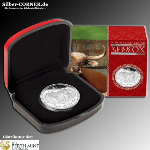 Lunar II Ochse 2009 1 Oz AG Proof + Box + Zertifikat*