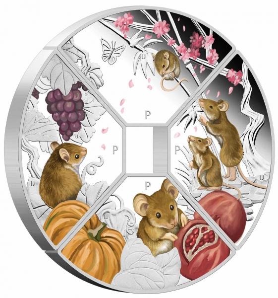 Jahr der Maus 4 x 1 Oz Silber Quadrant Set 2020 + Box +Zertifikat*