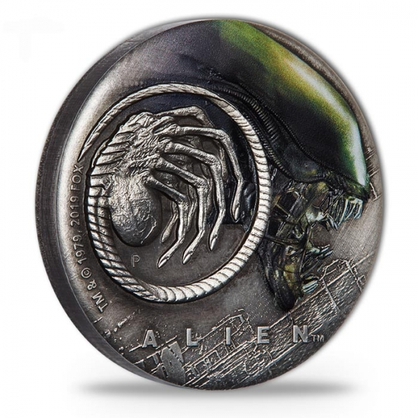 Alien - 40 Jahre - 2 Unzen Silber Antik Finish + Aufsteller*