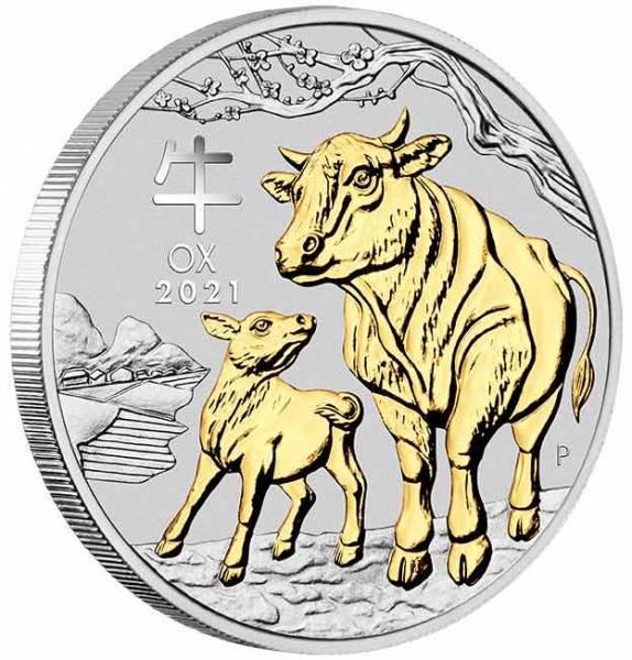 Lunar 3 - Ochse - 1 Oz Silber gilded + Box + Zertifikat*