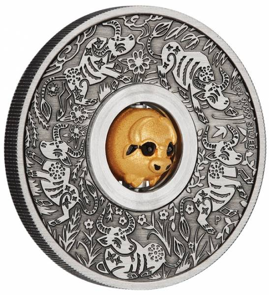 Rotating Ochse 1 Unze Silbermünze 2021