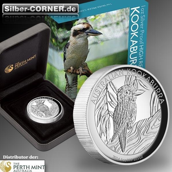 High Relief Kookaburra 1 Oz Silber 2014 + Box+CoA*