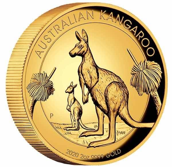Australien Kangaroo 2 Oz Gold High Relief 2020 + Box + COA
