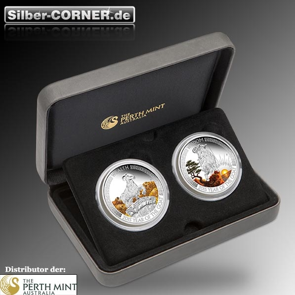 Wealth & Wisdom Year of the Goat 2 Coin Set Proof Silber*