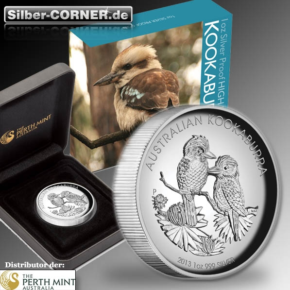 Kookaburra 2013 - High Relief - 1 Oz Silber Proof + Box + COA *