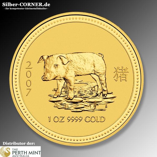Lunar I Schwein 2007 1/10 Oz Gold
