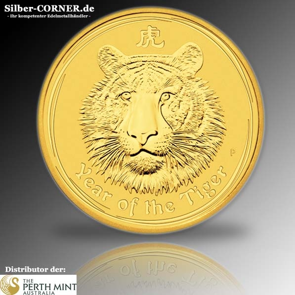 Lunar II Tiger 2010 1/10 Oz Gold