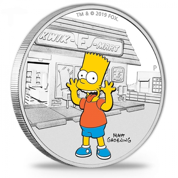 The Simpsons - Bart Simpson - 1 Oz Silber Proof +Box +COA*