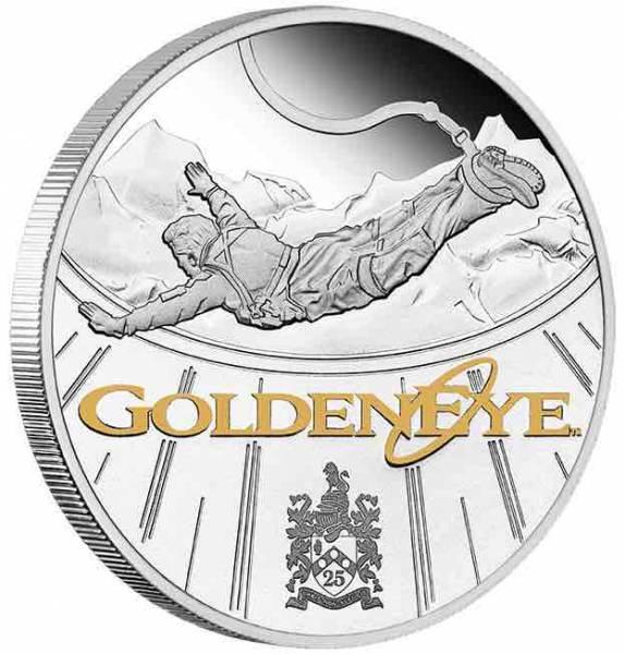 James Bond - 25 Jahre Golden Eye - 1 Unze Silber Proof + Box +COA