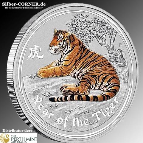 Lunar II Tiger 2oz Silber farbig*