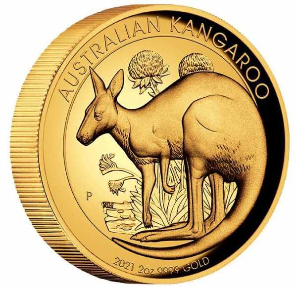 Australien Känguru 2 Unzen Goldmünze High Relief 2021