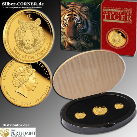 Lunar II - Jahr des Tigers - 3-Coin Set Gold Proof