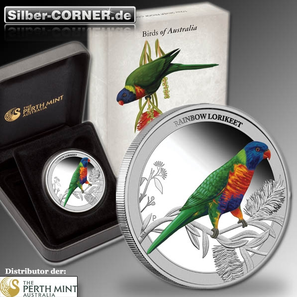 Birds of Australia - Rainbow Lorikeet - 1/2 Oz Silber Proof + Box + COA*