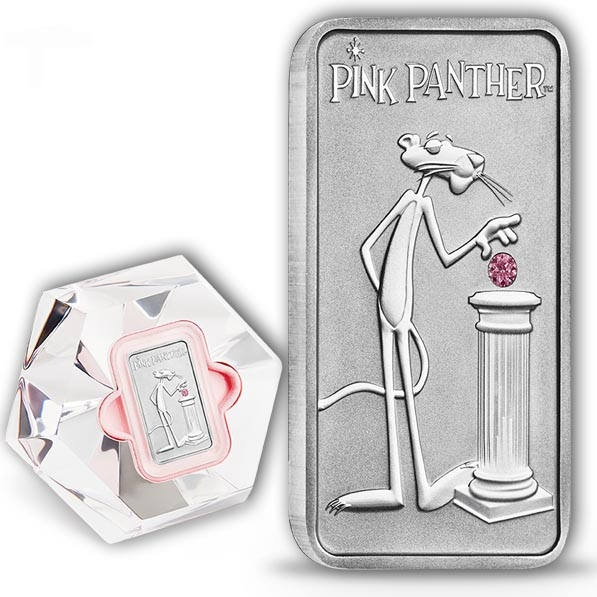 Pink Panther - 1 Unze Platin - mit Diamanten + Box
