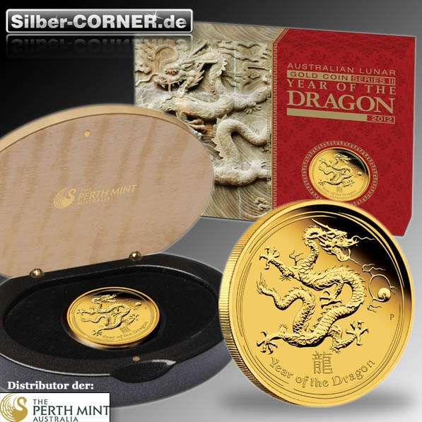 Lunar II Drache 1/10 Oz Proof Gold + Box + COA