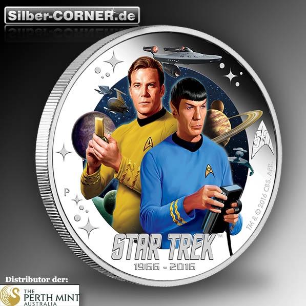 Kirk und Spok auf 1 Oz Silber Proof Münze