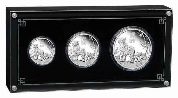 Lunar III - Tiger - 3 Coin Set Silber Proof + Box + COA*