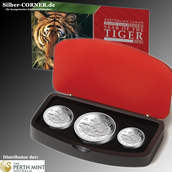 Lunar II Tiger 3-Coin Set Silber Proof + Box + Zertifikat *