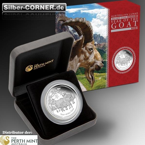 Lunar II Ziege 5 Oz Silber Proof Coin *