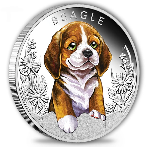 Puppies - Beagle - 1/2 Oz Silber Proof + Box +COA*