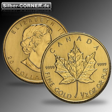 halbe Unze Maple Leaf Gold 2014